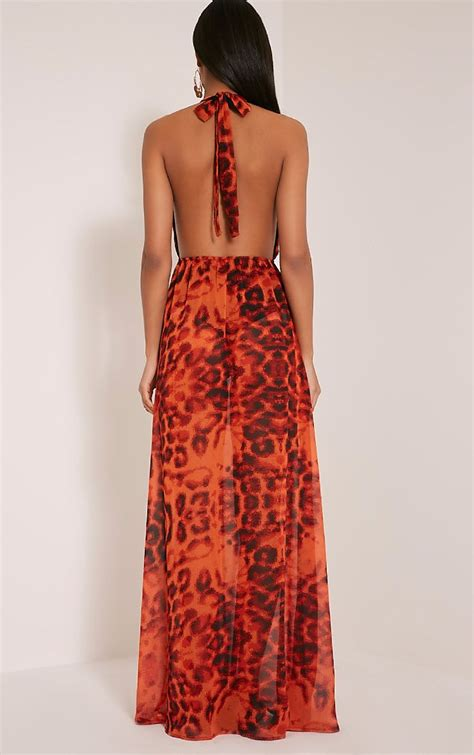 Alina Maxi alina orange leopard print plunge maxi dress