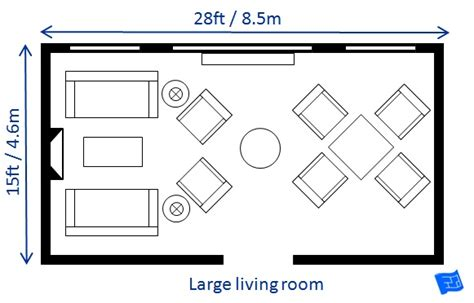 draw room dimensions living room size
