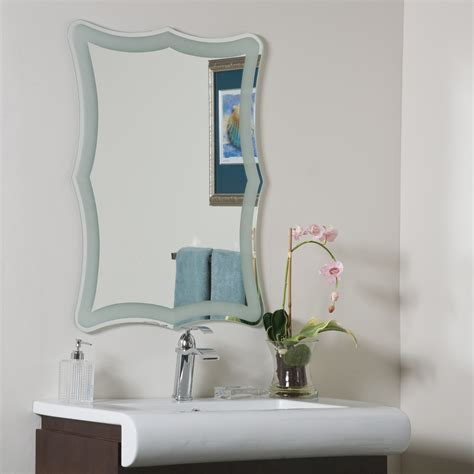 Bathroom Mirrors For Less Decor Coquette Frame Less Bathroom Mirror