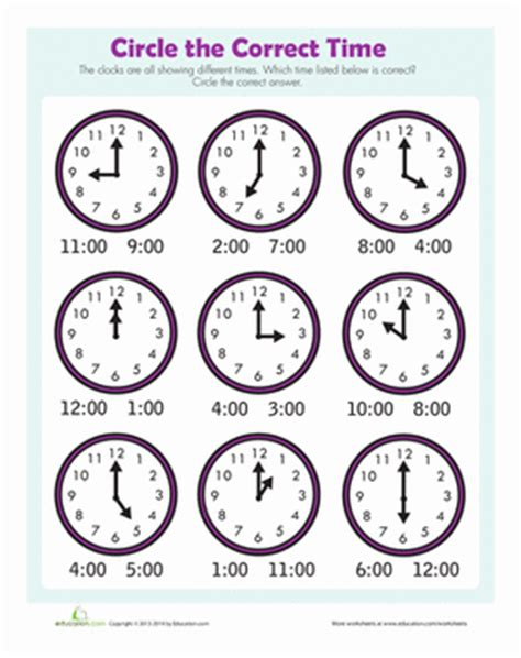 printable clock activities first grade find the time worksheet education com