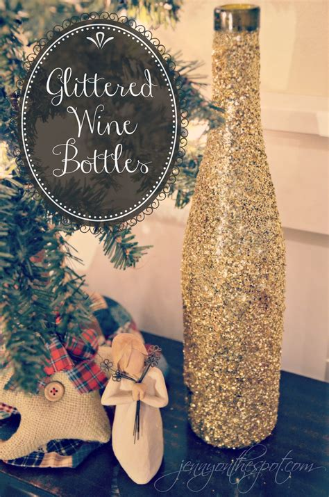 tutorial for diy glittered wine bottles on spot