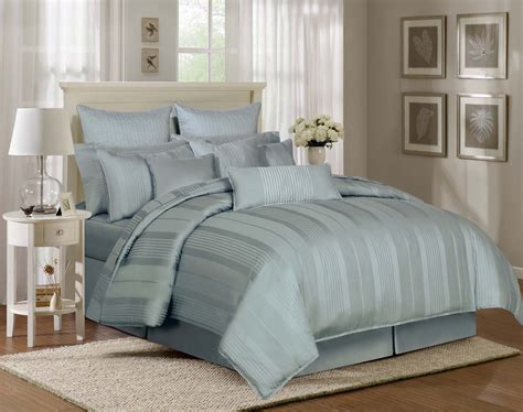 light blue queen comforter set echo design stripes cotton and polyester bedding sets with
