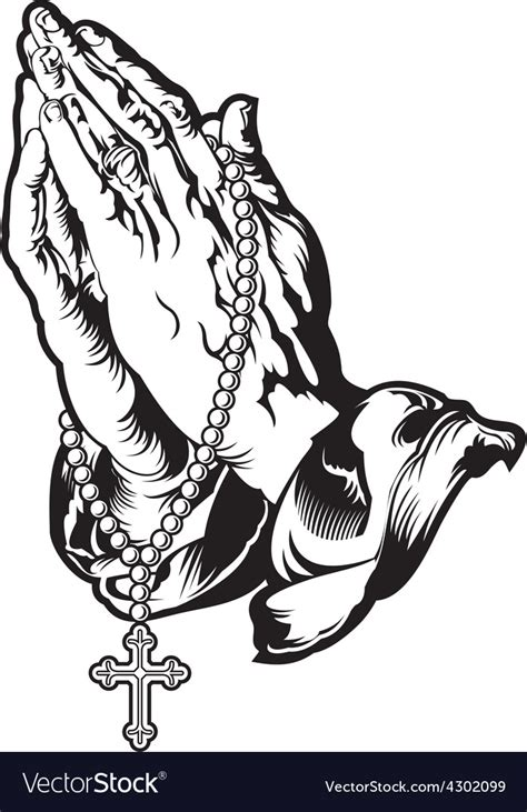 free praying hands tattoo designs praying with rosary royalty free vector image