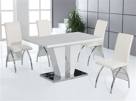 Full White High Gloss Dining Table And 4 Chairs Set White Dining Room Table Sets