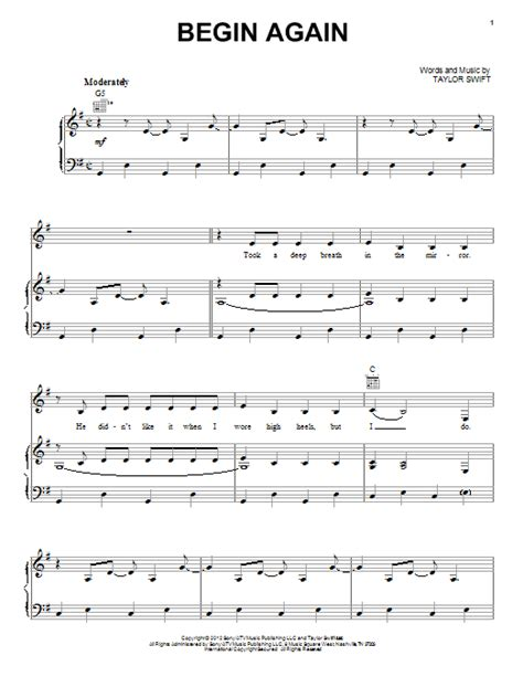 begin again taylor swift easy chords begin again sheet music direct
