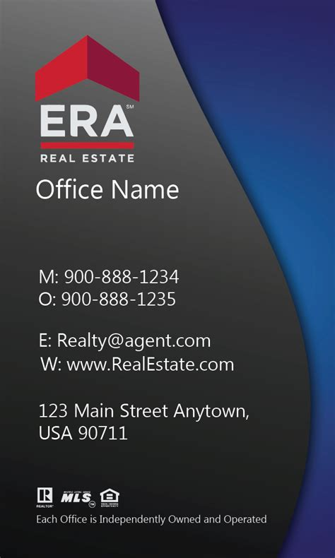 era business card template blue era real estate business card design 145082