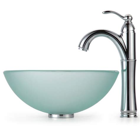 14 inch bathroom sink kraus frosted 14 inch glass vessel sink and rivera faucet