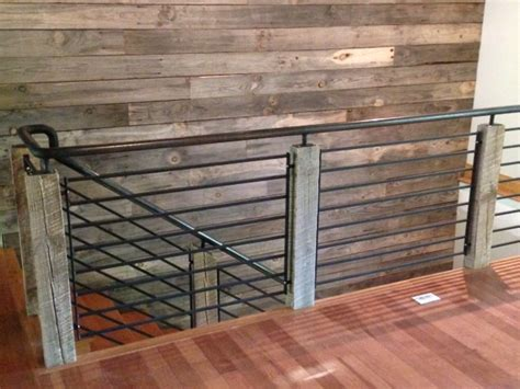 wooden stair banisters and railings reclaimed wood and steel railing industrial staircase other metro by