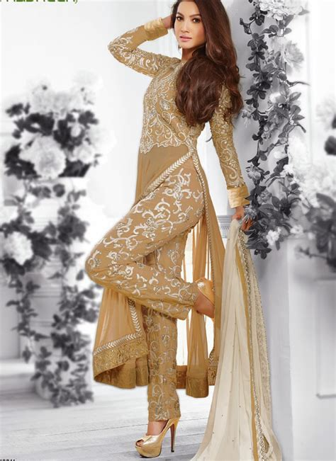 karachi suits with plazo maskeen 12011 wheat color georgette embroidery work pants