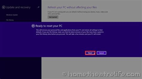 factory reset to windows 8 how to factory reset windows 8 home theatre life