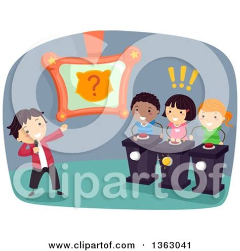 art design quiz clipart of kids playing an animal themed guessing game