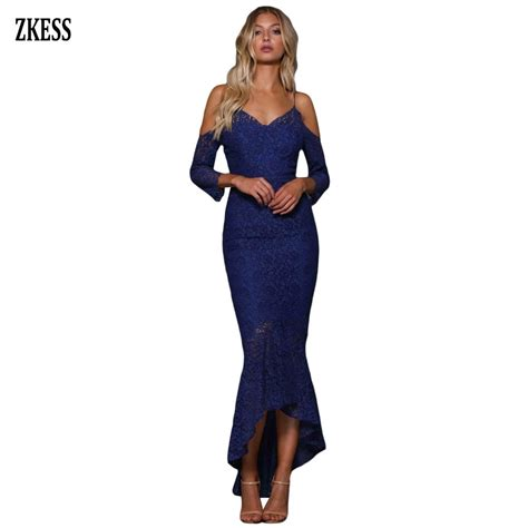 Zkess Womens Shoulder Bardot Lace Evening by Zkess Embroidery Lace Cold Shoulder Ruffled Mermaid Dress Sleeveless V Neck
