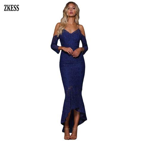zkess embroidery lace cold shoulder ruffled mermaid dress sleeveless v neck