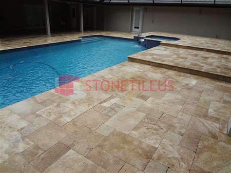 Travertine Patio Pavers Walnut Tumbled Pattern Travertine Tiles Tiles