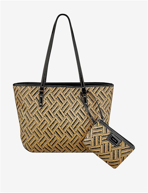 Nine Wests Dreamweaver Woven Tote by Nine West 2 Pc Show Stopper Medium Raffia Woven Tote Bag Set