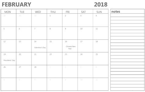Calendar 2018 Notes February 2018 Calendar Printable Archives Letter