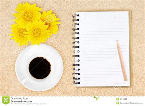 Floral Pencil Coffee notebook pencil coffee and flowers stock photo image