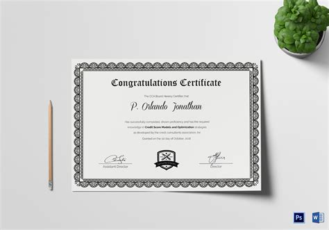 congratulations certificate word template congratulations certificate design template in psd word