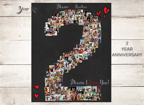 gifts for 2 year 2 year anniversary 2nd anniversary gift photo collage