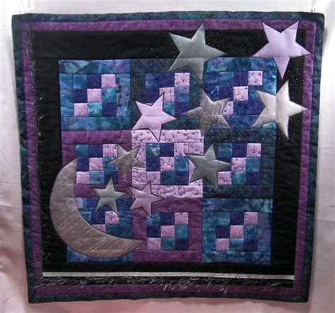 moon  stars quilted wall hanging hand beaded etsy