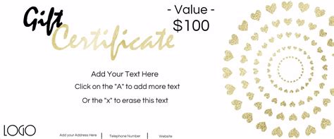Create Gift Certificate Online Free sample customer