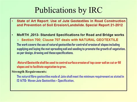 irc section 707 jute geotextile potential and application in road works
