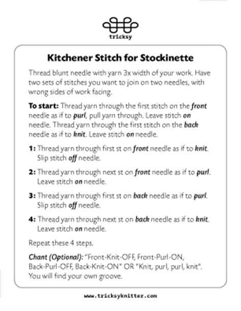how to do kitchener stitch in knitting kitchener stitch card tricksy knitter by megan