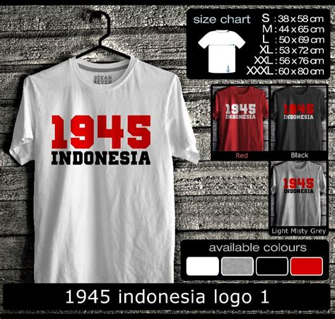 Kaos Distro Pria Wanita Unisex 1 Quote 1945 indonesia logo 1 dapurnya koleksi baju distro