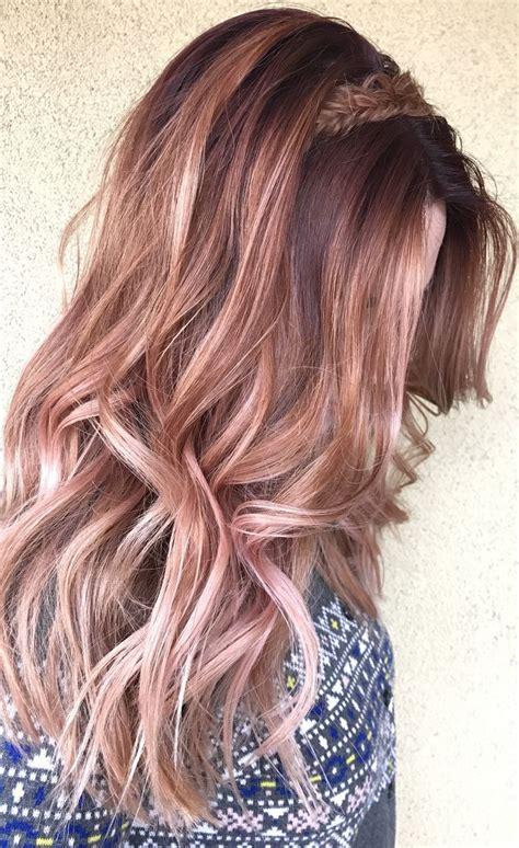 rose gold lowlights on dark hair rose gold balayage blonde hair