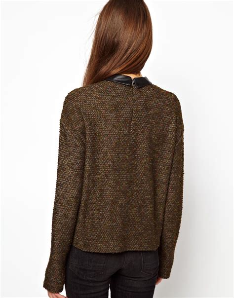 Esprit Shopper Pocket New asos esprit sweater with leather look collar and pocket in
