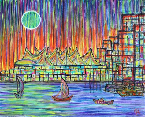 canada place vancouver alive in color painting by aiyadurai