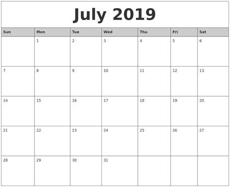 july monthly calendar printable