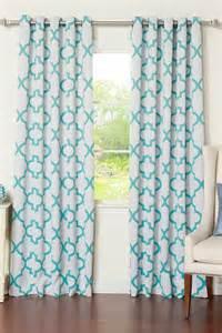 White Grommet Valance Reverse Moroccan Tile Printed Grommet Curtain Pair