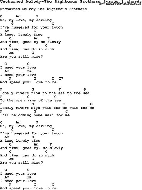 song ukulele chords song lyrics for unchained melody the righteous