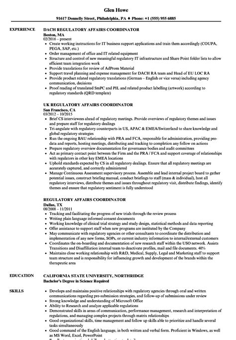 regulatory resume sle cv templates regulatory affairs coordinator resume sles velvet