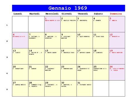 Calendario De 1969 Calendario Gennaio 1969 Pdf