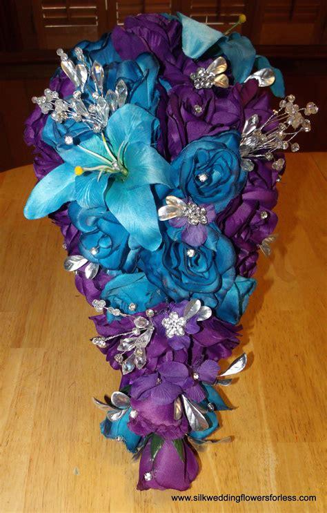 regency purple  malibu blue silk wedding flowers