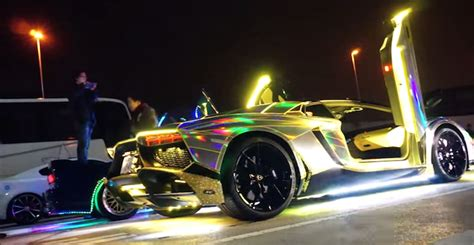 lamborghini aventador with neon lights revs in japan