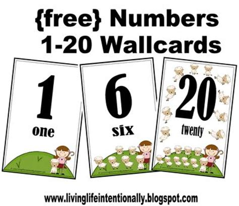 cute printable number cards wallcards 1 20 emma pinterest