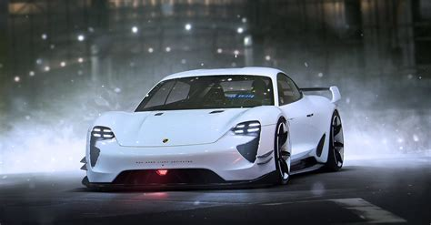 concept porsche porsche mission e concept car future white art by khyzyl