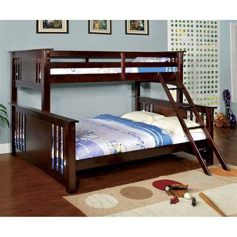 bunk bed queen over twin shop furniture of america spring creek dark walnut twin