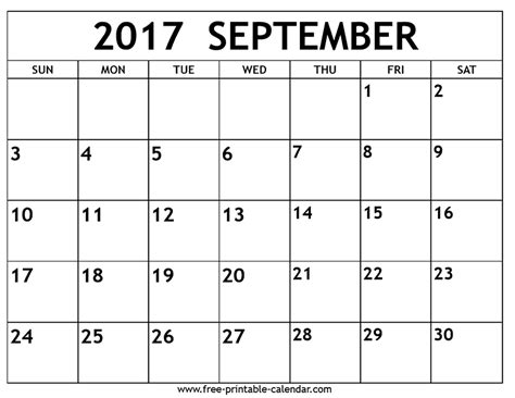 Calendario Septiembre 2017 Sep September 2017 Calendar With Us Holidays