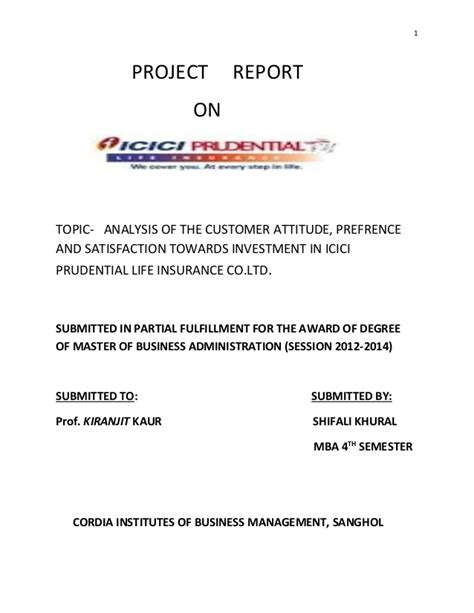 Lic Project Report For Mba by Analysis Of The Customer Attitude Prefrence And