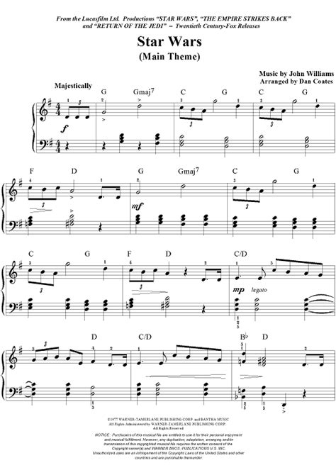 theme song star wars star wars main theme sheet music for piano and more