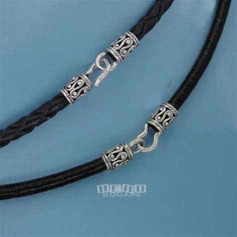 leather cord for jewelry sterling silver black genuine leather cord necklace w