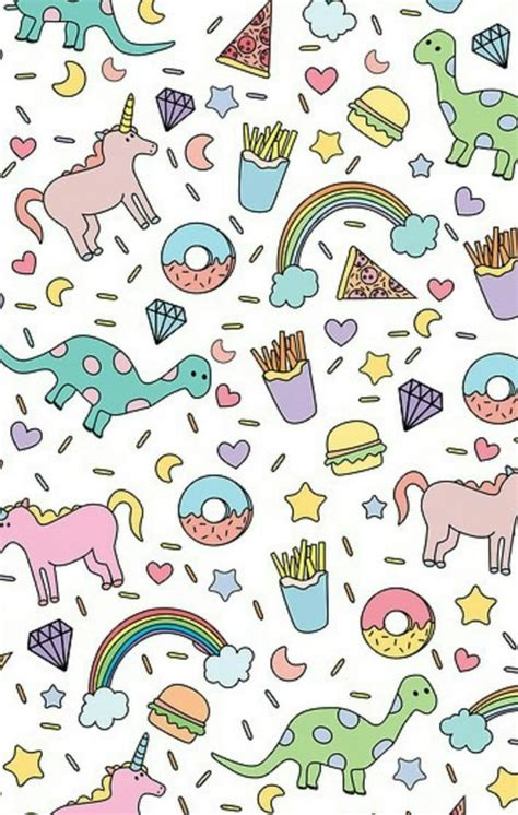girly rainbow wallpaper cute donut unicorn dinosaur rainbow french fry iphone