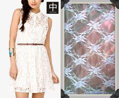 18260 Checked Dress White 2 Warna berkreasi dengan membuat dress dari bahan brokat lace