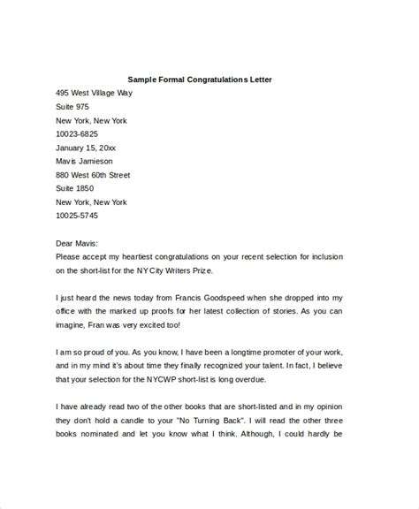 sample formal letters ms word