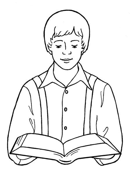 reading the bible coloring page 214 best images about lds children s coloring pages on