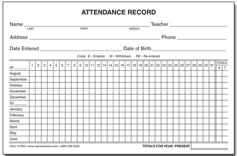 Attendance History Card Free Template by Attendance Record Card Yearly 147br Supreme School Supply
